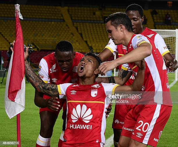 Wilson Morelo of Colombia's Santa Fe celebrates after scoring against Ecuador's Liga de Loja during their 2015 Copa Sudamericana football match, at...