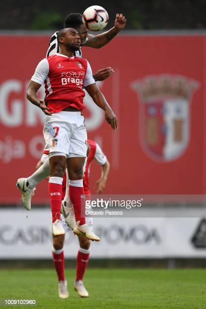 Wilson of SC Braga competes for the ball with Jamaal Lascelles of Newcastle during the Preseason friendly between SC Braga and Newcastle on August 1...