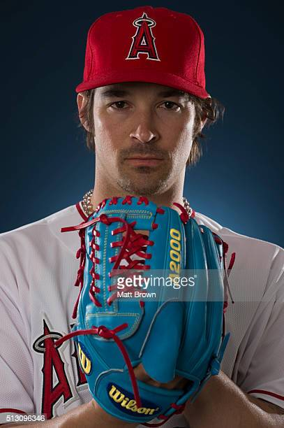 CJ Wilson of the Los Angeles Angels of Anaheim poses for a portrait during photo day at spring training on February 26 2016 at Tempe Diablo Stadium...