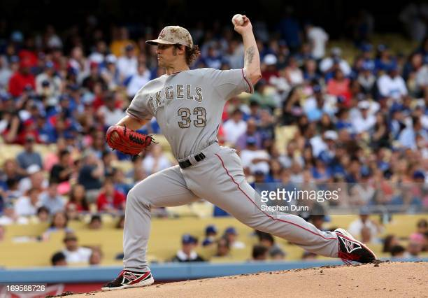 J Wilson of the Los Angeles Angels of Anaheim throws a pitch against the Los Angeles Dodgers at Dodger Stadium on May 27 2013 in Los Angeles...