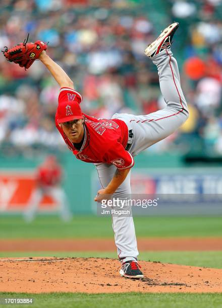 J Wilson of the Los Angeles Angels of Anaheim throws in the 1st inning against the Boston Red Sox during the second game of a doubleheader at Fenway...