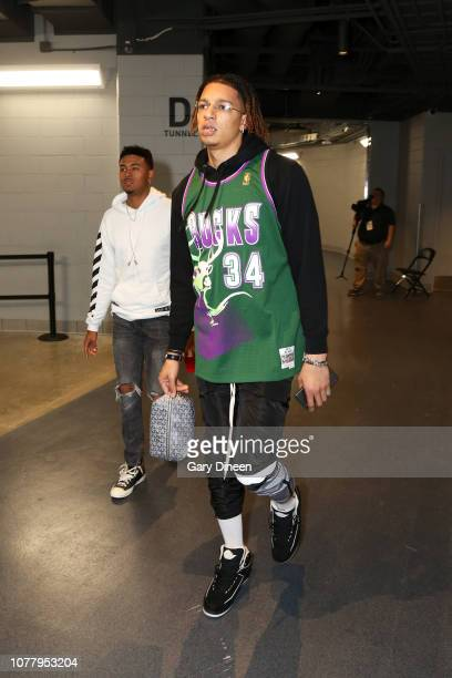 J Wilson of the Milwaukee Bucks arrives at the arena before the game against the Toronto Raptors on January 5 2019 at the Fiserv Forum Center in...