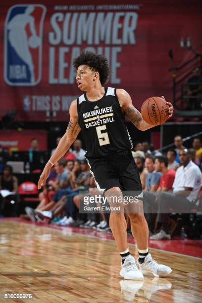 J Wilson of the Milwaukee Bucks dribbles against the Cleveland Cavaliers on July 7 2017 at the Thomas Mack Center in Las Vegas Nevada NOTE TO USER...