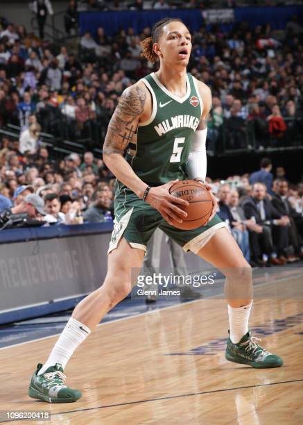 J Wilson of the Milwaukee Bucks handles the ball against the Dallas Mavericks on February 8 2019 at the American Airlines Center in Dallas Texas NOTE...