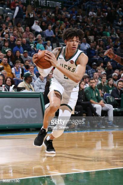 J Wilson of the Milwaukee Bucks handles the ball against the Oklahoma City Thunder on October 31 2017 at the BMO Harris Bradley Center in Milwaukee...