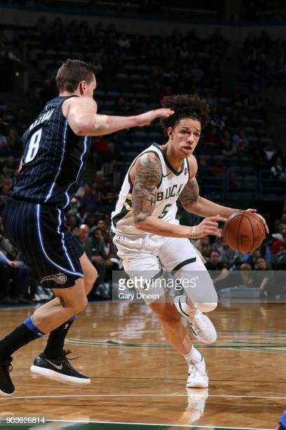 J Wilson of the Milwaukee Bucks handles the ball against the Orlando Magic on January 10 2018 at the BMO Harris Bradley Center in Milwaukee Wisconsin...