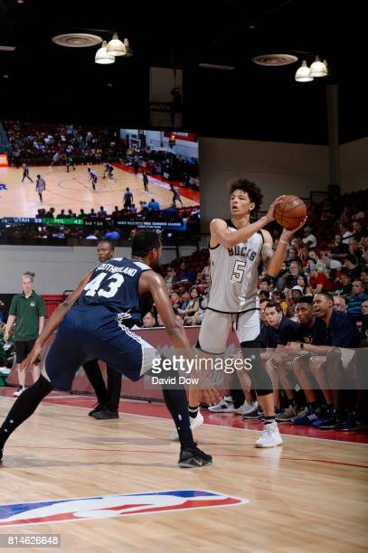 J Wilson of the Milwaukee Bucks handles the ball against the Utah Jazz during the 2017 Summer League on July 14 2017 at Cox Pavillion in Las Vegas...