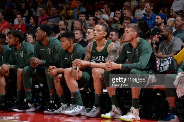 J Wilson of the Milwaukee Bucks looks on against the Detroit Pistons during the 2018 Las Vegas Summer League on July 6 2018 at the Cox Pavilion in...