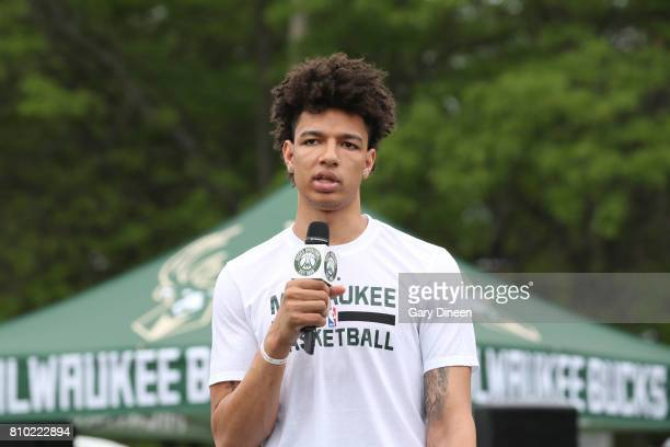 J Wilson of the Milwaukee Bucks participates in the Milwaukee Bucks Experience at Summerfest on June 30 2017 at Henry Maier Festival Park in...