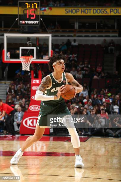 J Wilson of the Milwaukee Bucks passes the ball against the Chicago Bulls during the preseason game on October 6 2017 at the United Center in Chicago...