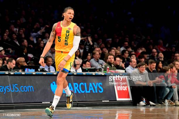 J Wilson of the Milwaukee Bucks racts against the Brooklyn Nets at Barclays Center on April 01 2019 in New York City The Bucks defeated the Nets...