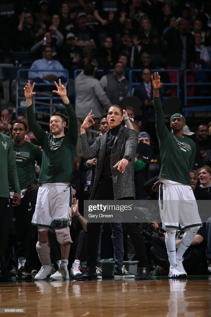 D.J. Wilson #5 of the Milwaukee Bucks reacts during Game Three of Round One of the 2018 NBA Playoffs against the Boston Celtics on April 20, 2018 at the BMO Harris Bradley Center in Milwaukee, Wisconsin.