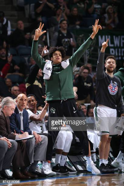 DJ Wilson of the Milwaukee Bucks reacts during the game against the Memphis Grizzlies on November 13 2017 at the BMO Harris Bradley Center in...