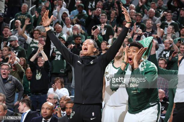 J Wilson of the Milwaukee Bucks reacts to a play against the Boston Celtics during Game Five of the Eastern Conference Semifinals of the 2019 NBA...