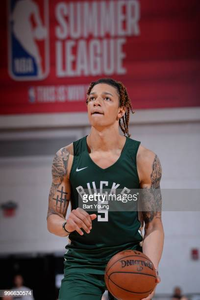 J Wilson of the Milwaukee Bucks shoots a free throw against the Denver Nuggets during the 2018 Las Vegas Summer League on July 9 2018 at the Cox...