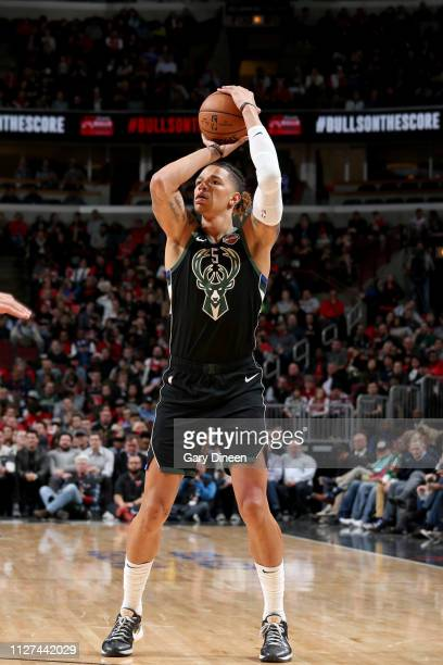 J Wilson of the Milwaukee Bucks shoots a three point basket during the game against the Chicago Bulls on February 25 2019 at the United Center in...