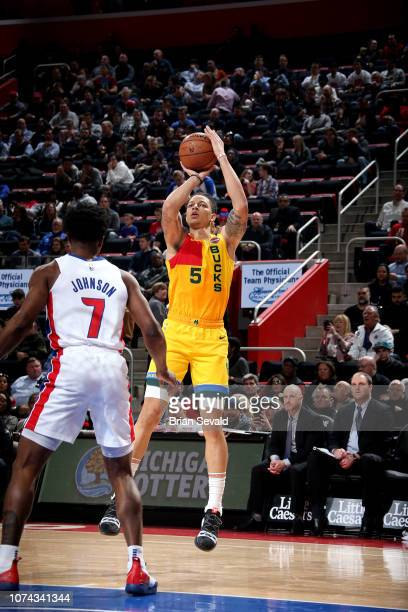 J Wilson of the Milwaukee Bucks shoots the ball against the Detroit Pistons on December 17 2018 at Little Caesars Arena in Detroit Michigan NOTE TO...