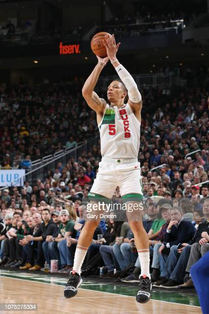 J Wilson of the Milwaukee Bucks shoots the ball against the New York Knicks on December 27 2018 at the Fiserv Forum Center in Milwaukee Wisconsin...