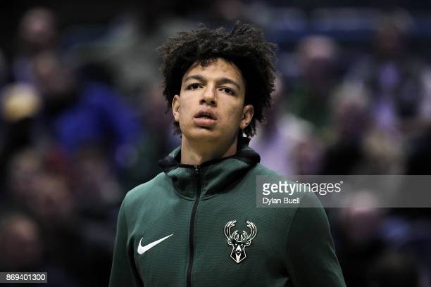 J Wilson of the Milwaukee Bucks warms up before the game against the Oklahoma City Thunder at the Bradley Center on October 31 2017 in Milwaukee...