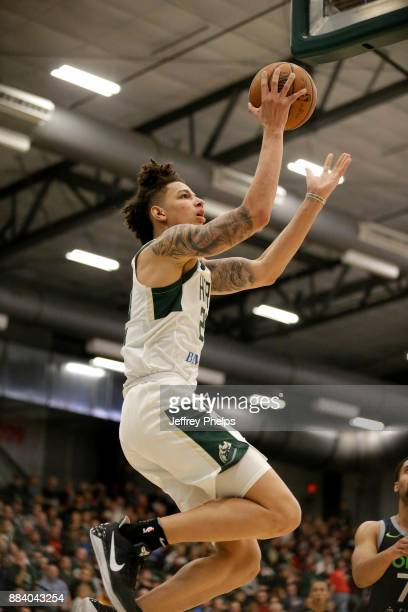 J Wilson of the Wisconsin Herd goes for a lay up against the Iowa Wolves during the NBA GLeague on December 1 2017 at the Menominee Nation Arena in...