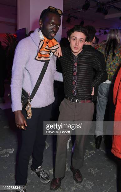 Wilson Oryema and Sonny Hall attend the LOVE x The Store X party celebrating LOVE issue 21 supported by Perrier Jouet at The Store X on February 18...