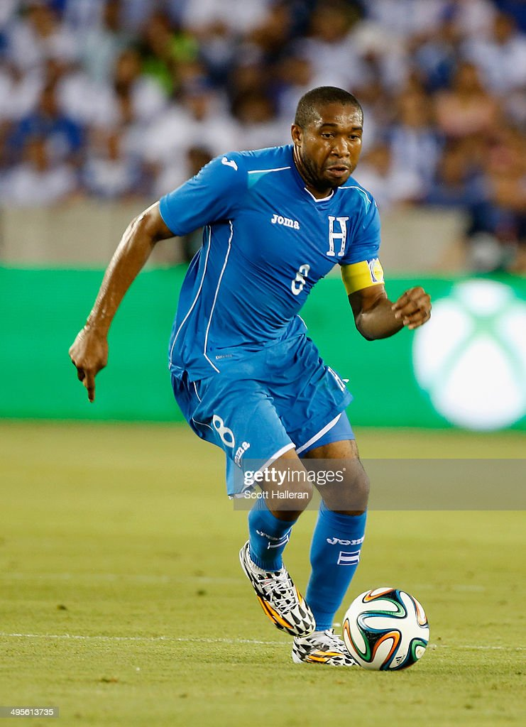 Wilson Palacios #8 of Honduras in action during their Road to Brazil match against Isreal at BBVA Compass Stadium on June 1, 2014 in Houston, Texas.