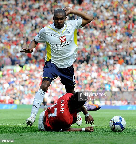 Wilson Palacios of Tottenham Hotspur brings down Nani of Manchester United to concede a penalty during the Barclays Premier League match between...