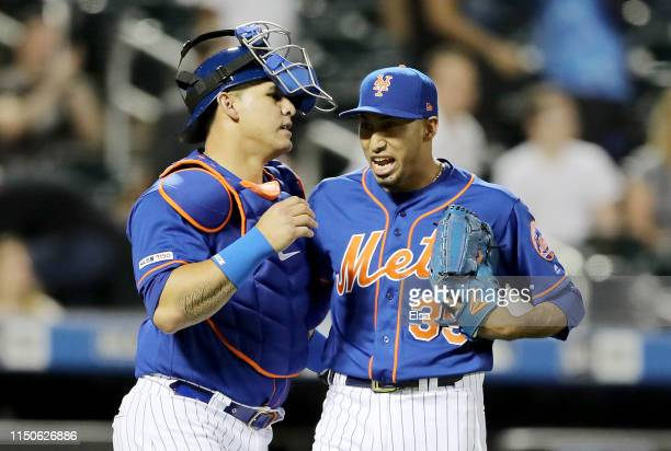 Wilson Ramos and Edwin Diaz of the New York Mets celebrate the win over the Washington Nationals at Citi Field on May 20, 2019 in the Flushing...