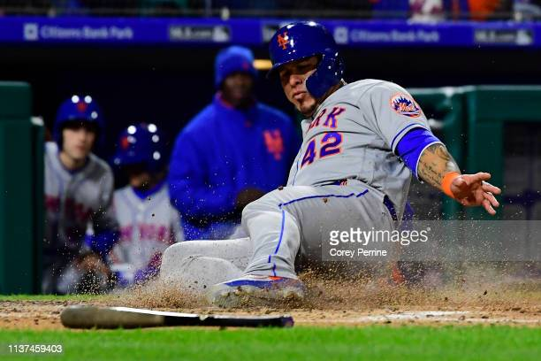 Wilson Ramos of the New York Mets scores during the third inning at Citizens Bank Park on April 15 2019 in Philadelphia Pennsylvania All players are...