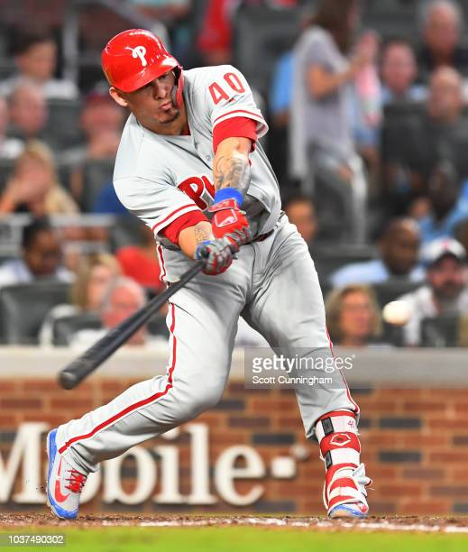 Wilson Ramos of the Philadelphia Phillies knocks in two runs with a seventh inning double against the Atlanta Braves at SunTrust Park on September 21...