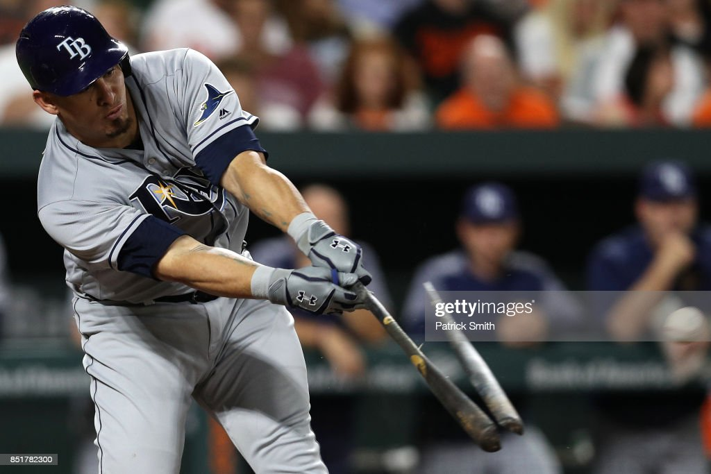 Wilson Ramos #40 of the Tampa Bay Rays breaks his bat as he hits a single during the third inning against the Baltimore Orioles at Oriole Park at Camden Yards on September 22, 2017 in Baltimore, Maryland.
