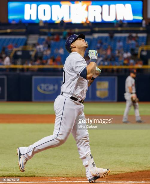 Wilson Ramos of the Tampa Bay Rays celebrates a home run in the third inning of a baseball game against the Detroit Tigers at Tropicana Field on July...