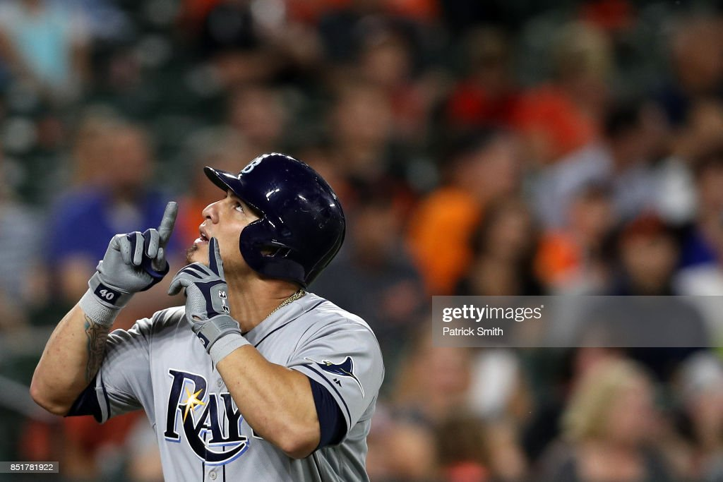 Wilson Ramos #40 of the Tampa Bay Rays celebrates after hitting a grand slam home run during the second inning against the Baltimore Orioles at Oriole Park at Camden Yards on September 22, 2017 in Baltimore, Maryland.