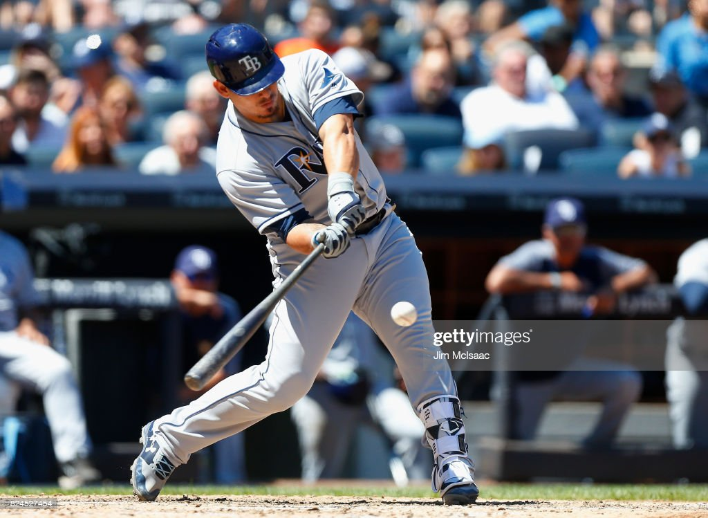 Wilson Ramos #40 of the Tampa Bay Rays connects on a third inning RBI base hit against the New York Yankees at Yankee Stadium on July 30, 2017 in the Bronx borough of New York City.