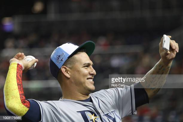 Wilson Ramos of the Tampa Bay Rays during the 89th MLB AllStar Game presented by Mastercard at Nationals Park on July 17 2018 in Washington DC