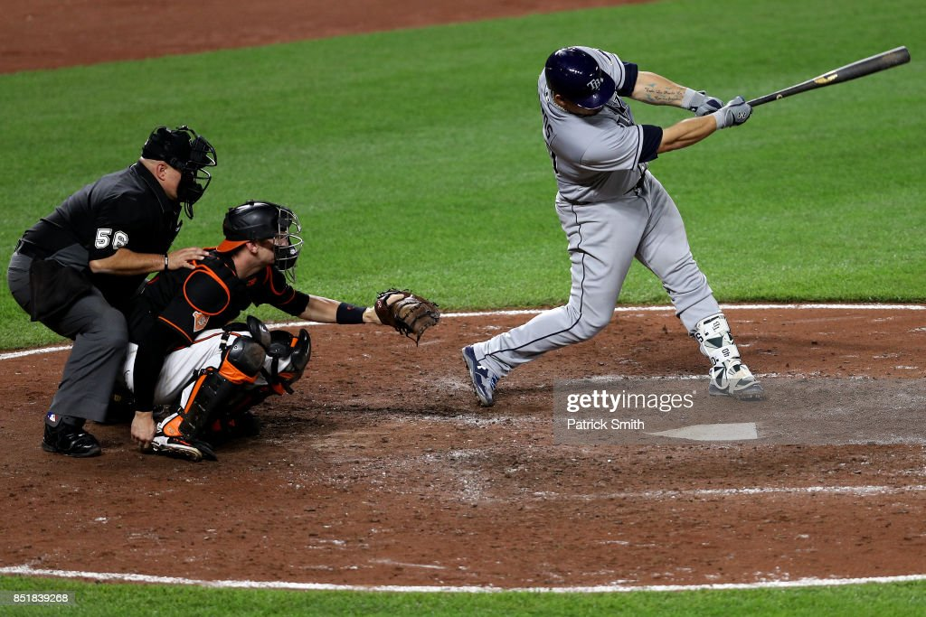 Wilson Ramos #40 of the Tampa Bay Rays hits a double against the Baltimore Orioles during the eighth inning at Oriole Park at Camden Yards on September 22, 2017 in Baltimore, Maryland.