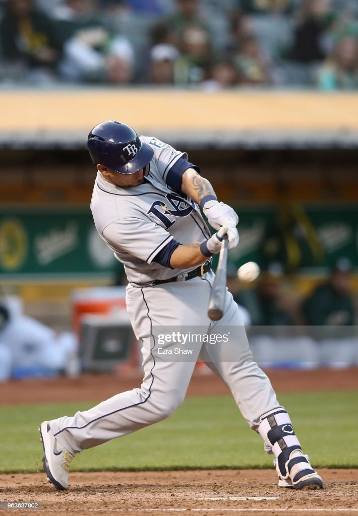 Wilson Ramos #40 of the Tampa Bay Rays hits a home run off of Daniel Gossett #48 of the Oakland Athletics in the third inning at Oakland Alameda Coliseum on May 29, 2018 in Oakland, California.