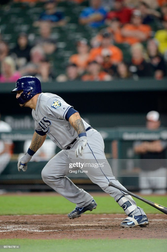 Wilson Ramos #40 of the Tampa Bay Rays hits a single in the ninth inning against the Baltimore Orioles during the second game of a doubleheader at Oriole Park at Camden Yards on May 12, 2018 in Baltimore, Maryland.