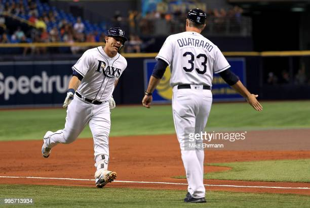 Wilson Ramos of the Tampa Bay Rays is congratulated after hitting a three run home run in the third inning during a game against the Detroit Tigers...