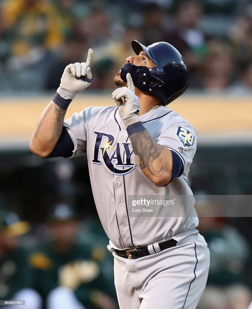 Wilson Ramos #40 of the Tampa Bay Rays points to the sky after he hit a home run off of Daniel Gossett #48 of the Oakland Athletics in the third inning at Oakland Alameda Coliseum on May 29, 2018 in Oakland, California.