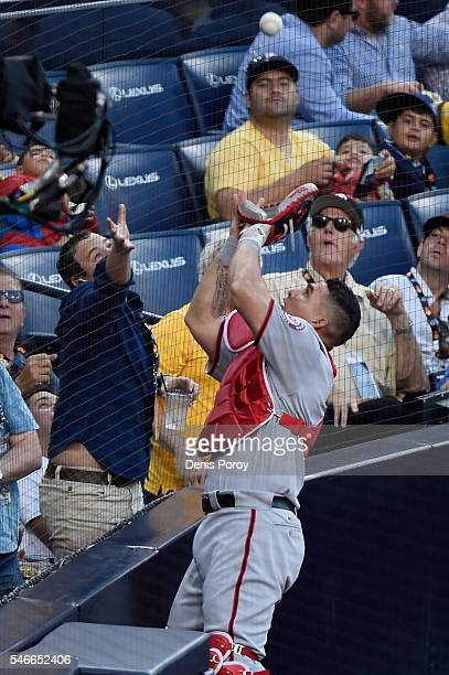 Wilson Ramos of the Washington Nationals and the National League makes a play against the American League during the 87th Annual MLB AllStar Game at...