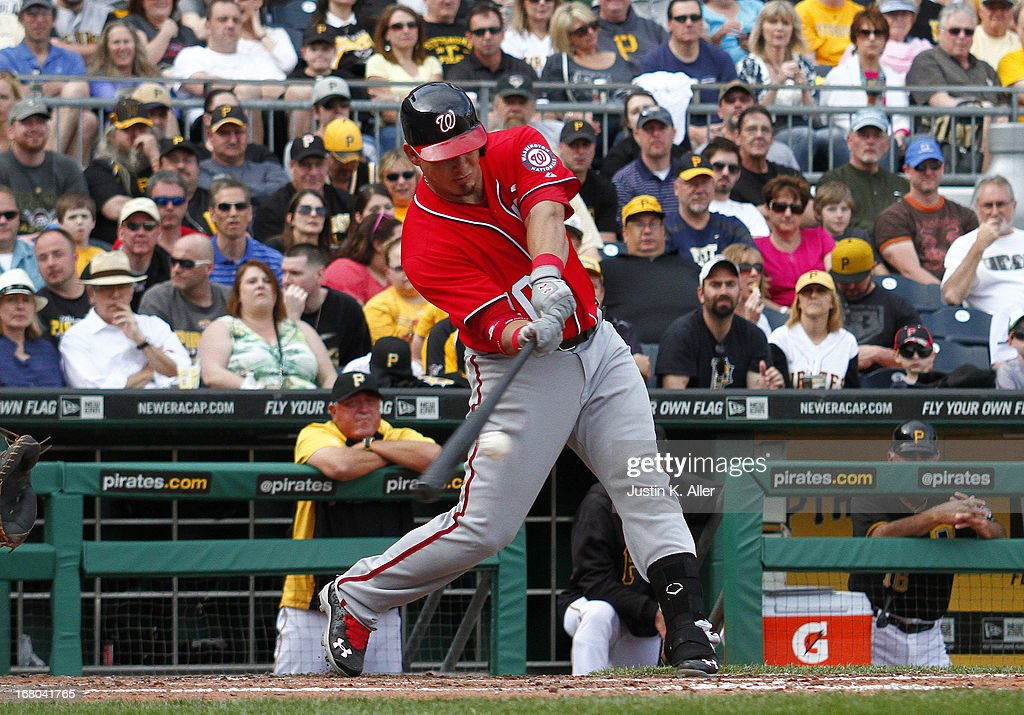 Wilson Ramos #40 of the Washington Nationals hits a two RBI sinlge in the sixth inning against the Pittsburgh Pirates during the game on May 4, 2013 at PNC Park in Pittsburgh, Pennsylvania.