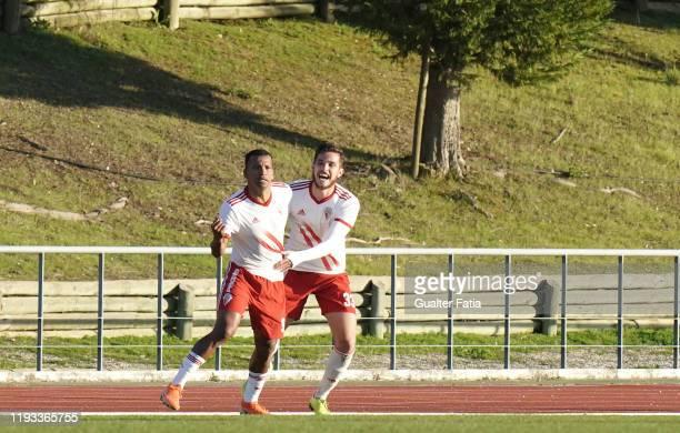 Wilson Santos of UD Vilafranquense celebrates after scoring a goal during the Liga Pro match between CD Mafra and UD Vilafranquense at Estadio do...
