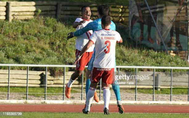 Wilson Santos of UD Vilafranquense celebrates with teammates after scoring a goal during the Liga Pro match between CD Mafra and UD Vilafranquense at...