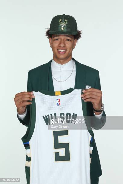 J Wilson the 17th pick in the 2017 NBA Draft is introduced by Milwaukee Bucks during a portrait shoot on June 26 2017 at the Milwaukee Bucks Schlitz...