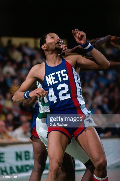 Wilson Washington of the New Jersey Nets boxes out against the Boston Celtics during a game played in 1979 at the Boston Garden in Boston...