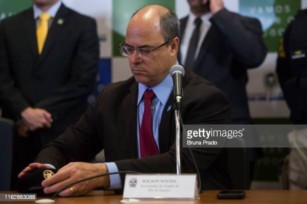 Wilson Witzel Governor of the State of Rio de Janeiro gestures during a press conference regarding the police operation carried out during the...