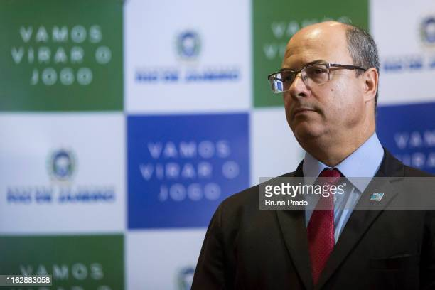 Wilson Witzel Governor of the State of Rio de Janeiro looks on during a press conference regarding the police operation carried out during the...