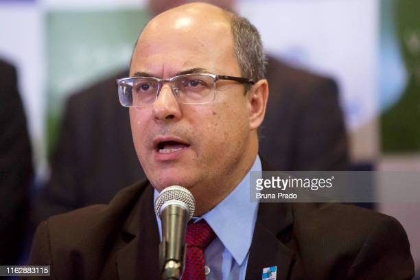 Wilson Witzel Governor of the State of Rio de Janeiro speaks during a press conference regarding the police operation carried out during the...