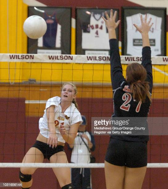 BEACH CA Wilson's Kellie Culbertson gets the ball past Lakewood's Jordyn Hecker in Long Beach CA on Thursday October 15 2009 Photo by